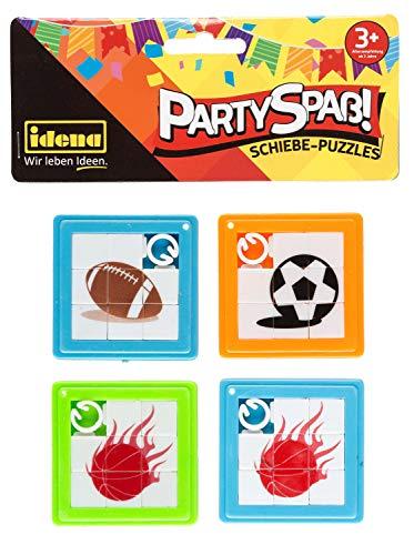 Idena 40431 - Partyspaß Schiebepuzzles, 4 Stück, mit sportlichen Bildmotiven, sortiert, ca. 5,5 x 5,5 cm