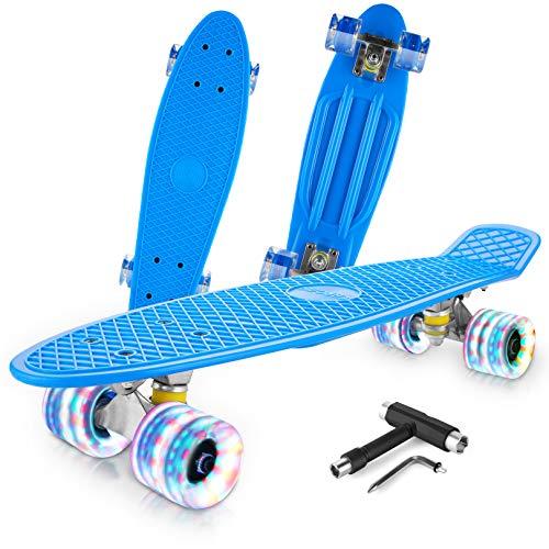 Caroma Skateboards für Anfänger, 22 Zoll/55cm komplettes Mini Cruiser Skateboard mit LED Light Up Wheels für Kinder Teens Girls Boys (#03)