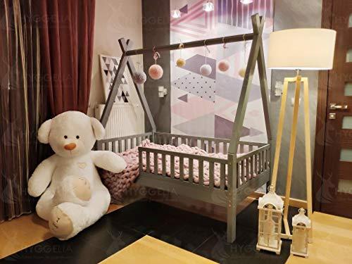 Hyggelia Tipi Bett mit Schutzbarrieren, Holzbett Hausbett Kinderbett, Jugendbett, Landhausbett, Betthaus, Farbe (80 x 160cm, Natürliches Holz)