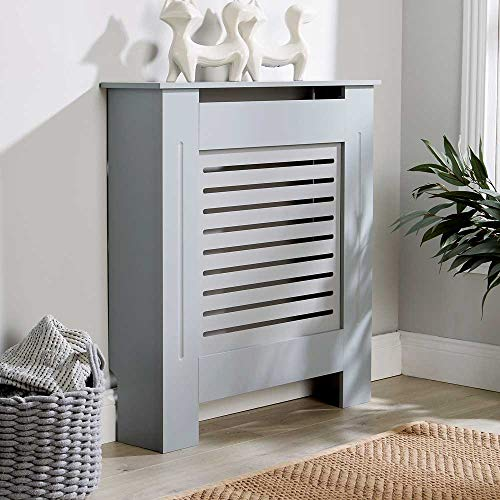 Home Source Radiator Cover Wooden MDF Wall Cabinet Shelf Slatted Grill Modern, Grey, Small