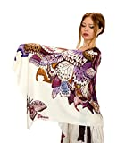 Designer Silf & Cashmere Scarf With Wide Spread Bird Feather Wings (Butterfly)