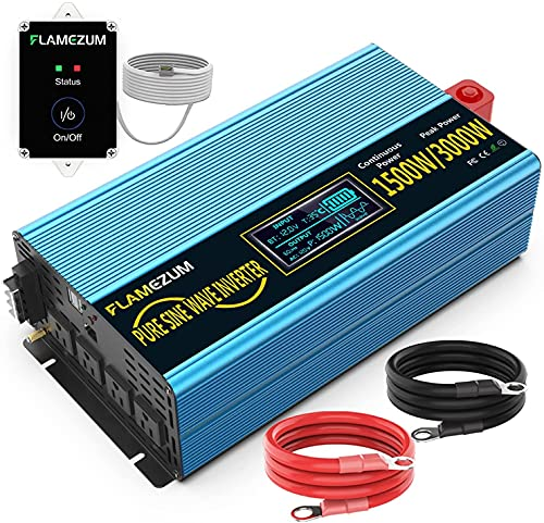 Pure Sine Wave Power Inverter 1500W/3000w(Peak) 12V DC to 110V/120V AC Converter 4 AC Outlets with USB Port 16.4 Feet Remote Control and Two Cooling Fans for Blenders, Vacuumsetc