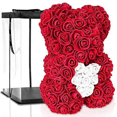 ROSEBEAR Blumenbär mit Geschenkbox - Teddy aus ewigen Rosen - Geschenk für Ihn und Sie zum Jahrestag Geburtstag Muttertag Hochzeitstag