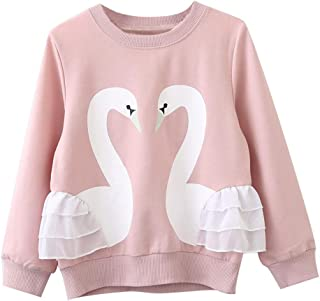 COODIO Baby Girls Long Sleeve T-Shirt Cute Cartoon Swan Lace Solid Color Pullover Children Clothing Blouse