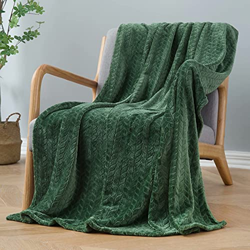 """Inhand Fleece Throw Blankets, Super Soft Flannel Cozy Blankets for Adults, Washable Lightweight Fuzzy Blanket for Couch Sofa Bed Office, Throw Size Warm Plush Blankets for All Season (50""""×60"""", Green)"""