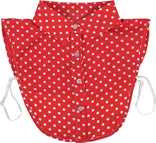 styleBREAKER Damen Blusenkragen Einsatz mit Punkte Muster und Knopfleiste, Kragen für Blusen und Pullover, Rockabilly Style 08020005, Farbe:Rot-Weiß