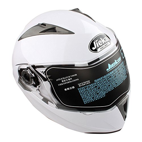 Estink Motorradhelm, Genehmigt Integralhelm Fullface Klapphelm Motorrad Roller Sturz Helm, mit Sonnenblende 63-64 cm(XXL, Weiß)