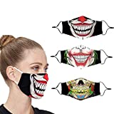 Villas Cloth Designer Cute Halloween Clown Face Mask Breathable Thin Reusable Funny Washable Adjustable Fashion Cotton Cooling Fabric Scary Lightweight for Men Women Sports(Blue)