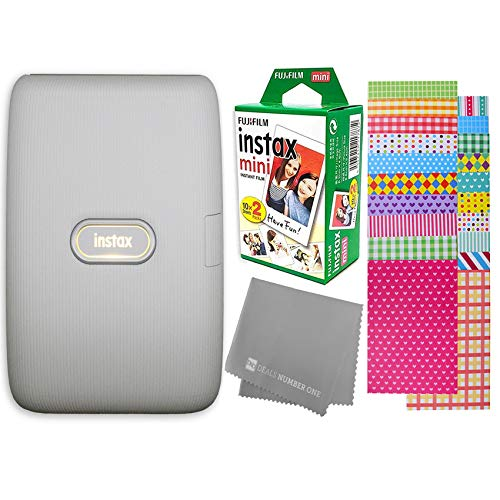 Fujifilm Instax Mini Link Smartphone Printer + Fujifilm Instax Mini Instant Film (20 Sheets) Bundle with Sturdy Tiger Stickers + Deals Number One Cleaning Cloth (Ash White)