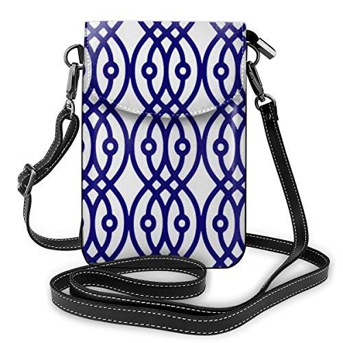 Goxegag Multifunktionale Handtasche aus Leder, leicht, kleine Schultertasche, Reisetasche mit verstellbarem Riemen für Frauen, Kimono-Druck, silbergrau und marineblau
