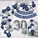 30. Geburtstag Männer,Luftballon Deko 30 Geburtstag Mann,Geburtstagsdeko 30 Männer,Silber Blau Luftballons Mann Deko zum 30 Geburtstag,Tischdecke Happy Birthday Girlande Torten Deko