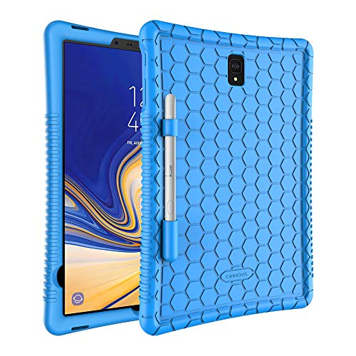 Fintie Silicone Case for Samsung Galaxy Tab S4 10.5 2018 Model SM-T830/T835/T837, [Honey Comb Series] [Kids Friendly] Light Weight Shock Proof Protective Cover with S Pen Holder, Blue