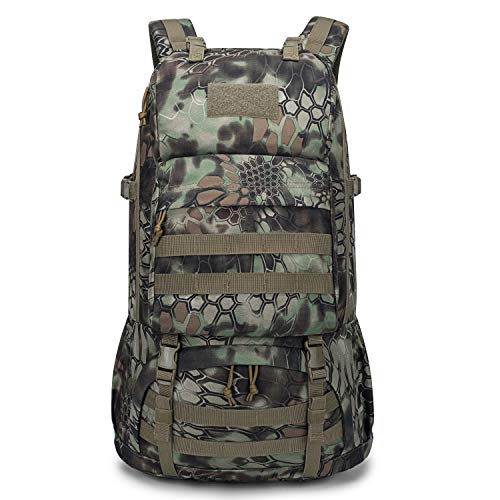 Mardingtop 40L Tactical Backpacks Molle Hiking daypacks for Camping Hiking Military Traveling Motorcycle (40L-Snakeskin khaki)
