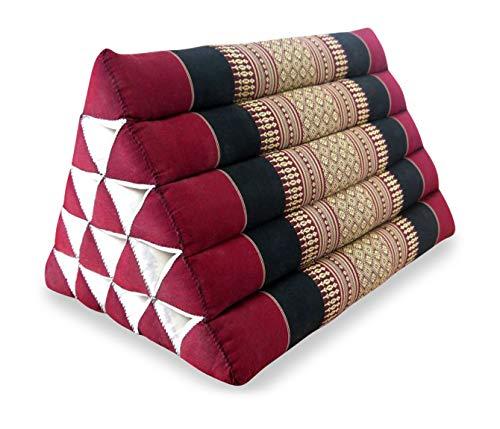 livasia Großes Dreieckskissen als Rückenstützkissen, Thaikissen BZW. Keilkissen, Nackenkissen fürs Bett (rot/schwarz)