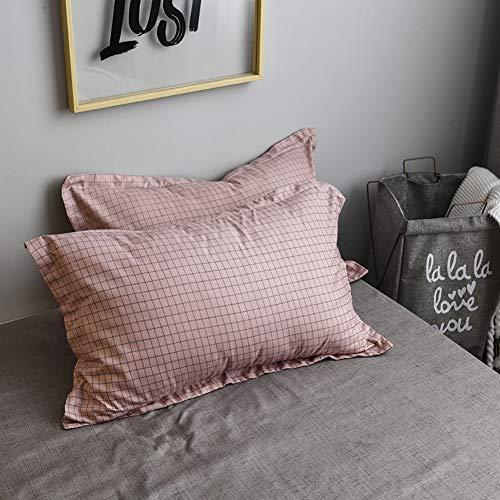 AShanlan 2er Set Rosa Grau Kariert Kissenbezug Kissenbezüge 40 x 80 cm Gebürstete Mikrofaser Kopfkissenbezug 40x80 Kissenhülle Doppelpack Altrosa
