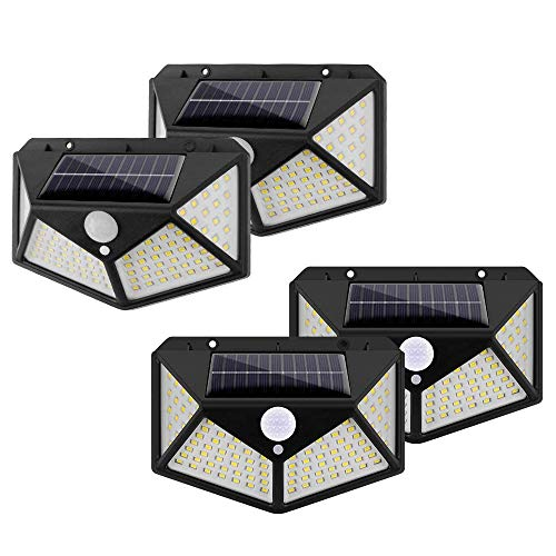 Solarlang Solar Lights Outdoor, Motion Sensor Wall Lights, Solar Wall Light with 270° Wide Angle, IP65 Waterproof, 3 Optional Modes, for Garden, Patio Yard, Front Door, Garage, Porch (4 Pack)