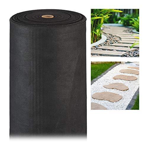 Relaxdays, noir anti-mauvaises herbes 50 m, Bâche tissée, Toile 150g/m² paillage, Résiste rayons UV, antidéchirure