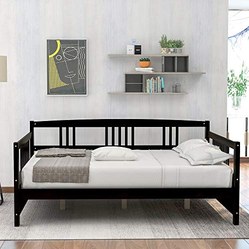 PovKeever Wood Daybed Full Size Daybed with Support Legs, Espresso