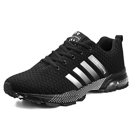 Damen Herren Laufschuhe Sportschuhe Turnschuhe Trainers Running Fitness Atmungsaktiv Sneakers (44 EU, Schwarz)
