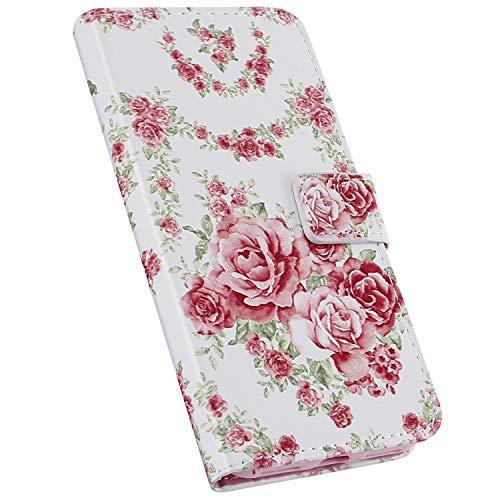 Ysimee Compatible avec Coque iPhone 11 Pro Max Portefeuille à Rabat Etui avec Fentes pour Cartes Housse en Cuir Motif Design Flip Case Couverture avec Fermeture Magnétique et Fonction Stand,Fleur Rose