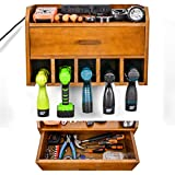 Ikkle Power Tool Organizer Storage - Garage Organizer Drill Charging Station - Wooden Cordless Drill Holder Rack Wall Mount with Drawer(Brown)