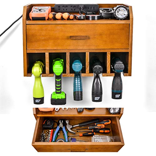 Ikkle Power Tool Organizer Storage - Garage Organizer Drill Charging Station - Wooden Cordless Drill Holder Rack Wall Mount with DrawerBrown