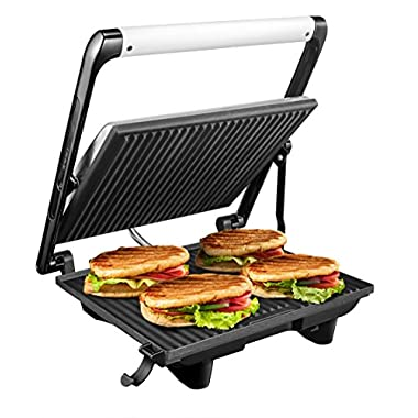 Aicok Panini Press Grill,Gourmet Sandwich Maker with Non-Stick Coated Plates, Removable Drip Tray, Adjustable Floating Top and Cold-Touch Handle, Polished Stainless Steel
