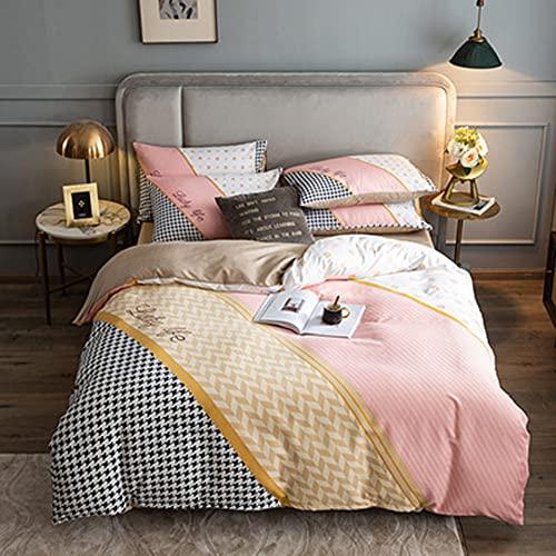 Housse de couette et taie d'oreiller - Ensemble de quatre pièces en coton léger de luxe, Ensemble quatre saisons en coton épais brossé à longues agrafes, linge de lit, housse de couette