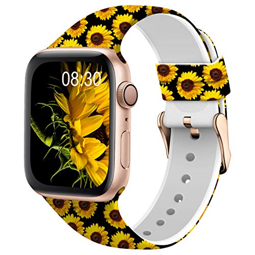 TSAAGAN Silicone Pattern Printed Band Compatible for Apple Watch Band 38mm 42mm 40mm 44mm, Floral Soft Sport Replacement Strap Wristband for iWatch Series 6/5/4/3/2/1 (Sunflower, 42mm/44mm)