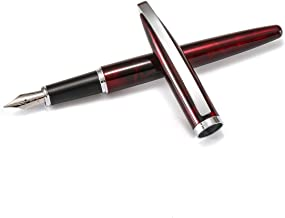 Jinhao [Silver Arc] Elegant Fountain Pen, Fine nib, Business Signature, Gift case, School student writing supplies (Amber Red)