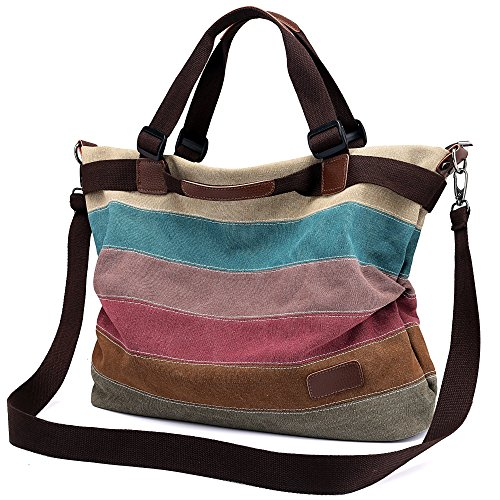 Ladies Tote Canvas Bag,Women's Handbag Vintage Hobo Shoulder Shopping Bags Large Colored Satchel