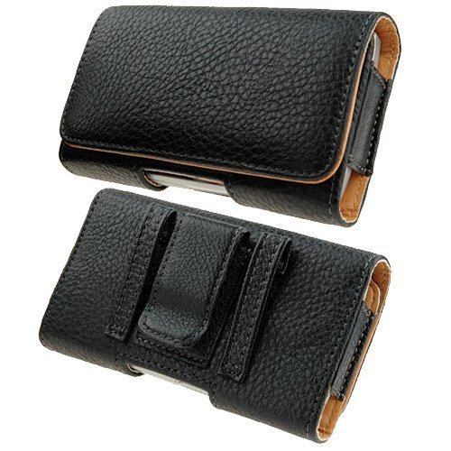 Kingsource Quality Black Leather Pouch Holster Case with Metal Belt Clip for iPhone 5 iPhone 5S iPhone 5C iPhone SE Not fit for iPhone SE 2 Color Black