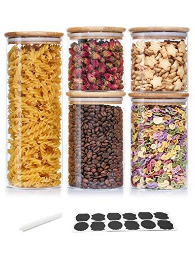 Aitsite Bocaux en Verre, Bocal Hermétique avec Couvercle en Bambou, Lot de 5 Pcs Pots de Conservation (2x600ml, 2x950ml, 1x1700ml) pour Épice, Spaghetti, Café, Céréales, Thé etc