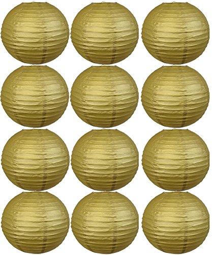 tmade 10,2cm 15,2cm 20,3cm 25,4cm 30,5cm Colorful Papier Laternen für Geburtstag Baby Dusche Hochzeit Party Garten Home decoration-12pcs, Papier, Gold 12PCS Lanterns, 8 inch(20cm)