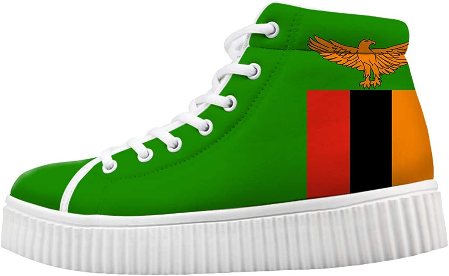 Owaheson Platform Lace up Sneaker Casual Chunky Walking shoes Women Zambia Flag