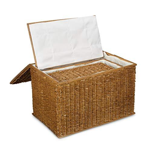 Relaxdays 3er Set Buri H x B x T: 39 x 60 x 37,5 cm Flechtoptik mit Deckel 71 L Korbtruhe mit herausnehmbarem Innenfutter Aufbewahrungstruhe atmungsaktiv stapelbare Wäschetruhe Natur, honigbraun - 3