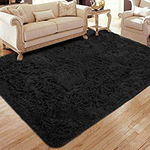 Flagover Soft Fluffy Modern Living Room Area Rugs-3′ x 5′ Black Shaggy Plush Non-Slip Bedroom Carpets Suitable for Children Room, Baby Room, College Dorm and Nursery Home Decor Floor Rugs