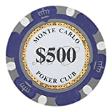 Brybelly Monte Carlo Premium Poker Chip Heavyweight 14-Gram Clay Composite - Pack of 50 ($500 Purple)