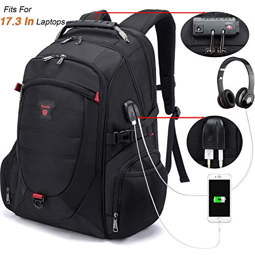 Tzowla Travel Laptop Backpack,Anti-Theft Water Resistant Business Luggage with TSA Lock&USB Charging Port Durable Computer Cooler Daypack for Men Women College School Bag Fit 17/18 inch Laptops-Black