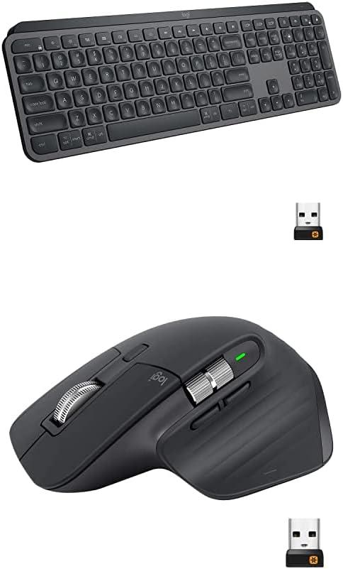 Logitech MX Master 3 Advanced Wireless Mouse - Graphite Bundle with Logitech MX Keys Advanced Wireless Illuminated Keyboard - Graphite