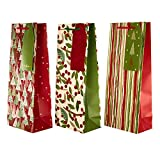 Christmas Red And Green Bottle Bag Bundle - 3 Bags in 3 Co-Ordinating Designs with Matching Tags