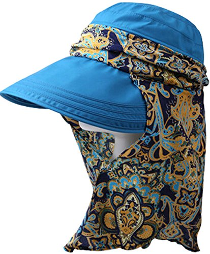 Summer Big Fold-Up Brim Flap Hat Sun Hat Protection for Outdoor, Blue