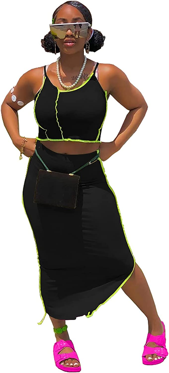 Womens Sexy 2 Piece Outfits Skirt Sets Casual Dresses Fluorescent Line Cami Crop Top Midi Long Skirts
