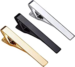 Roctee Skinny Tie Bar for Mens, 3 Pack Classic Tie Clip Silver Gold Black Necktie Bar Pinch Clips Suitable for Wedding Anniversary Business and Daily Life