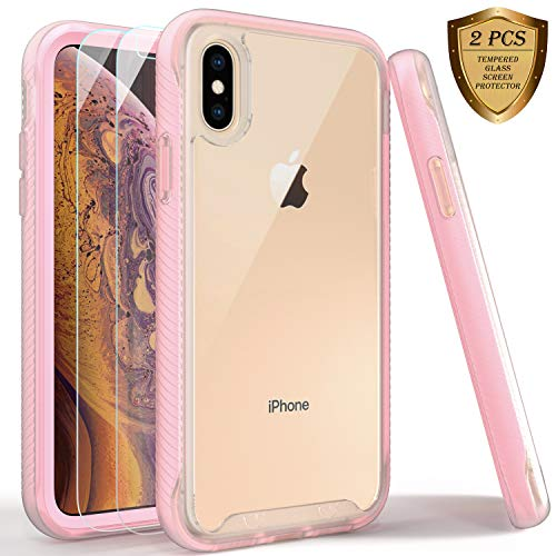 LUCKYCAT iPhone X Case, iPhone Xs Case with Tempered Glass Screen Protector [2 Pack], Rugged Shockproof Clear Multicolor Series Bumper Cover for Apple iPhone Xs/X-Matte Pink
