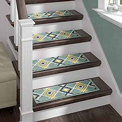 Sofia Rugs Shaggy Stair Treads - Carpet Runner Strips for Staircase Steps -Pack of 13 - Rug-Soft Fabric for Traction and Non-Slip Improvement - Includes Double Sided Adhesive Tape