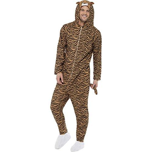 Amakando Tigerkostüm Jumpsuit Tierkostüm Raubkatze Overall M 40/42 Ganzkörper Katzenkostüm Tiger Kostüm Karneval Kostüme Damen Tier Faschingskostüm Zoo Katze Damenkostüm Wildkatze
