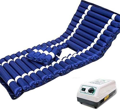 Slud Colchón antiescaras de Aire alternante, con Motor compresor, PVC médico ignífugo, para escaras de Grado I, 200 x 90, Color Azul