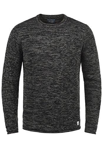 Blend Gerald Herren Strickpullover Feinstrick Pullover Mit Rundhals Und Melierung, Größe:XL, Farbe:Black (70155)