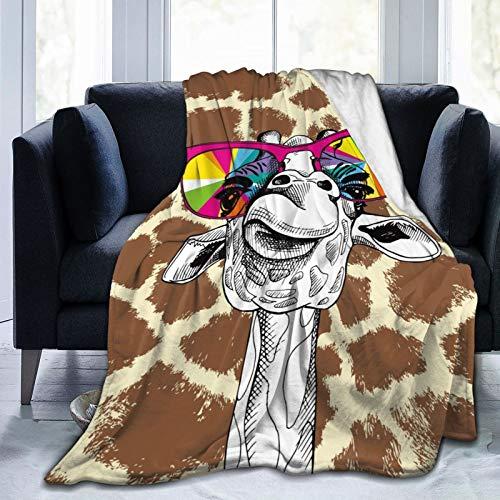 MINIOZE Colorful Giraffe Animal Skin Print Flannel Fluffy Full Fleece Throw Blanket Queen King Size Comforter Plush Soft Cozy Quilt Nursery Bedding Decor Bedroom Decorations Wearable
